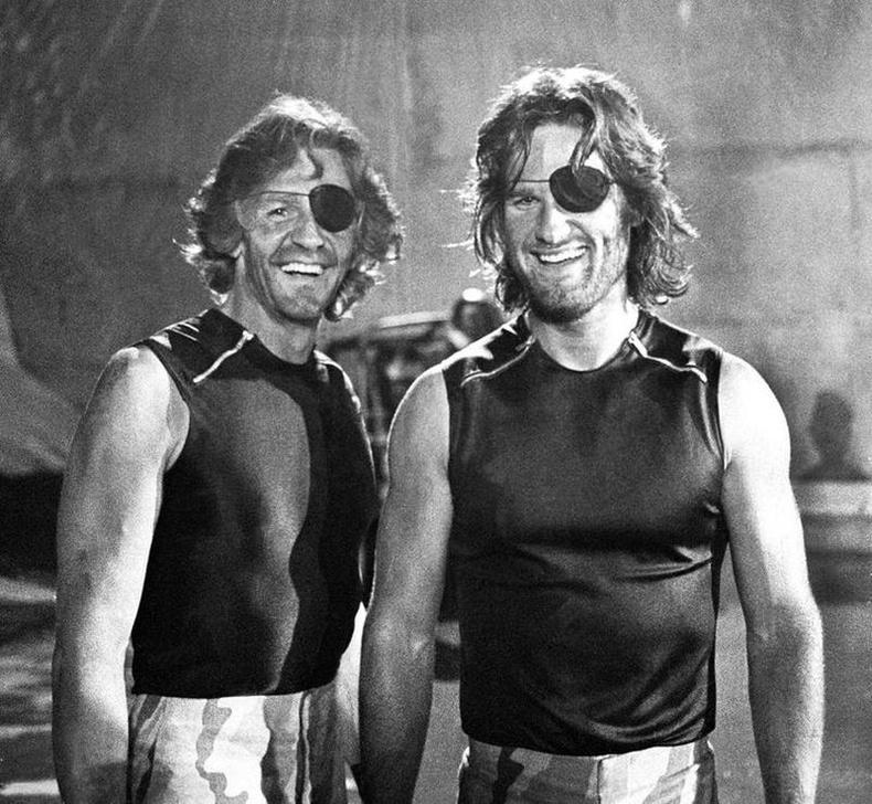 Курт Рассел болон түүний орлон тоглогч Дик Варлок, 1980 он.