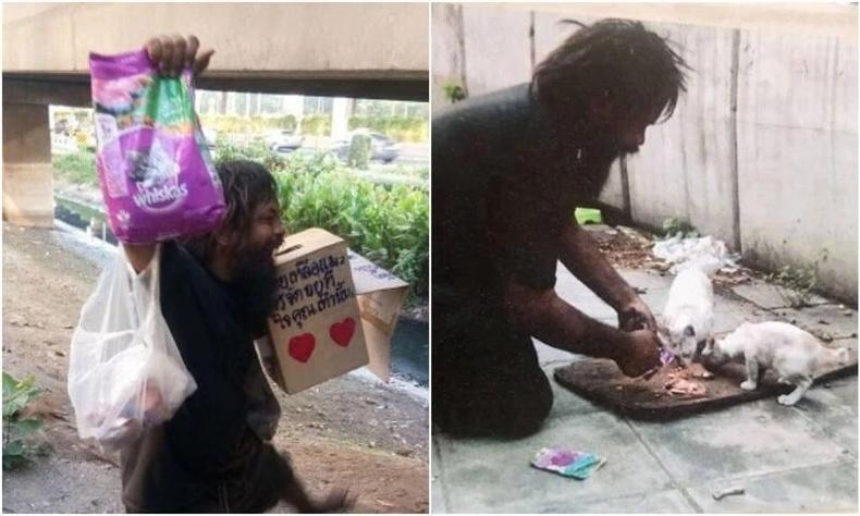 Орон гэргүй энэхүү эр гудамжинд гуйлга гуйж олсон мөнгөөрөө үргэлж тэнэмэл муурнуудыг хооллодог.