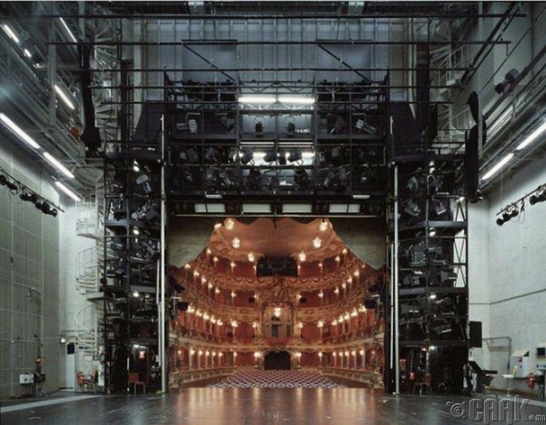 Тайзан дээрээс үзэгчдийн танхимын харагдах байдал