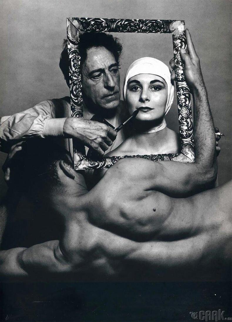 Францын яруу найрагч, зураач, найруулагч Жан Кокто, бүжигчин Рики Сома,Лео Коулман нарын хамт, 1949 он