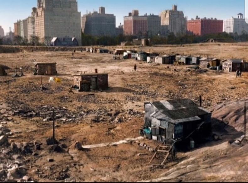 30-аад оны Их хямралын үеэр Нью-Йорк хотын төв парк ийм байдалтай байжээ. Улс болгонд дордож, сэхэх үе байдаг.