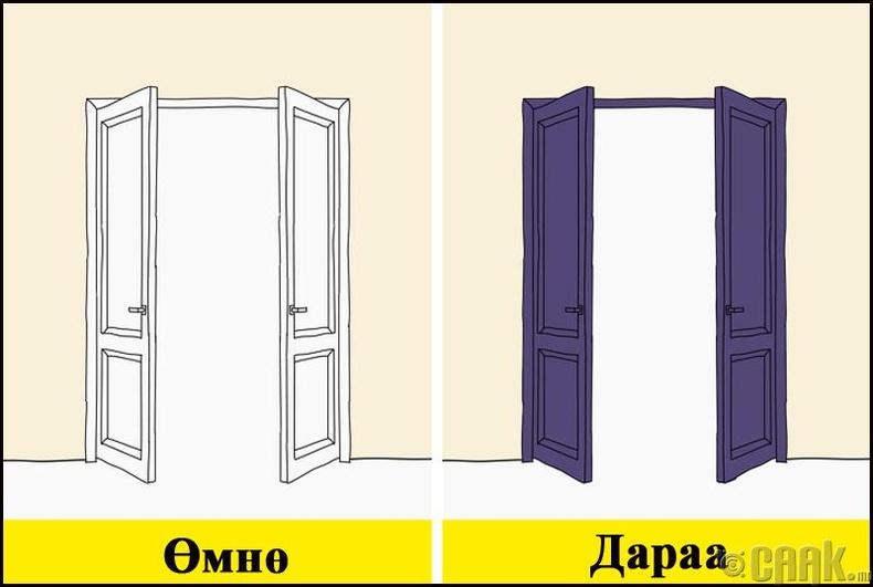 Хаалганы өнгийг тоохгүй орхисоор л байна уу?