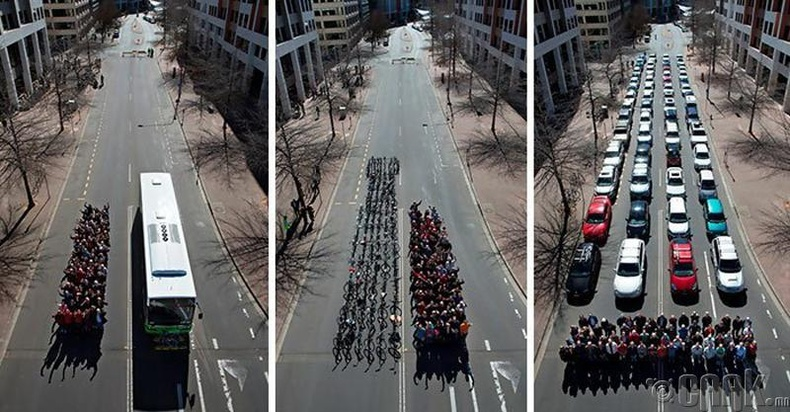 69 хүн автобус, автомашин, унадаг дугуйгаар явахад хэр их зай эзлэх вэ?