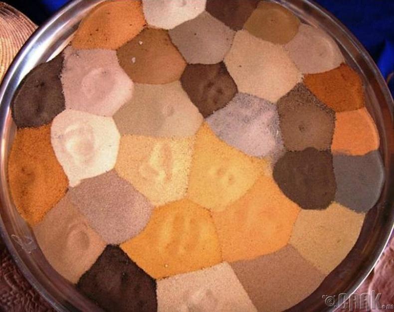 Сахарын өнгө өнгийн элсний цуглуулга