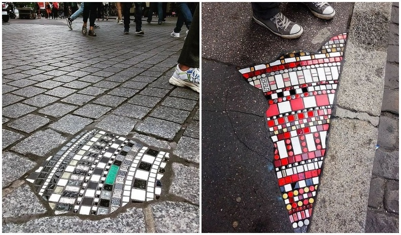 Явган хүний замын цоорхойг гоёмсгоор нөхдөг Франц эрийн бүтээлүүд
