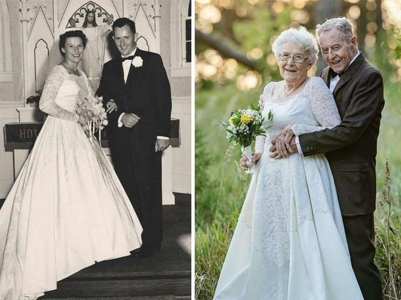 Хуримандаа өмссөн хувцасаа гэрлэлтийн 60 жилийн ойгоороо дахин гаргаж өмссөн хос