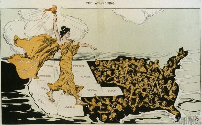 """""""Эмэгтэйчүүдийн сонгох эрхийн төлөө ухуулах хуудас"""" - АНУ, 1915 он"""