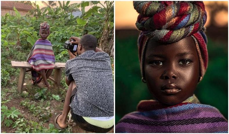 Гарын доорх материал ашиглан студийнх юм шиг зураг авдаг Нигери залуугийн бүтээлүүд