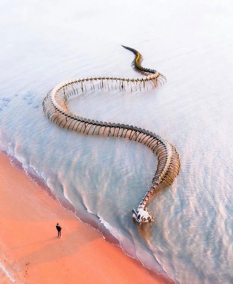 """Францын Луар мөрний эрэг дээрх """"Далайн могой"""" нэртэй хөнгөн цагаан баримал"""