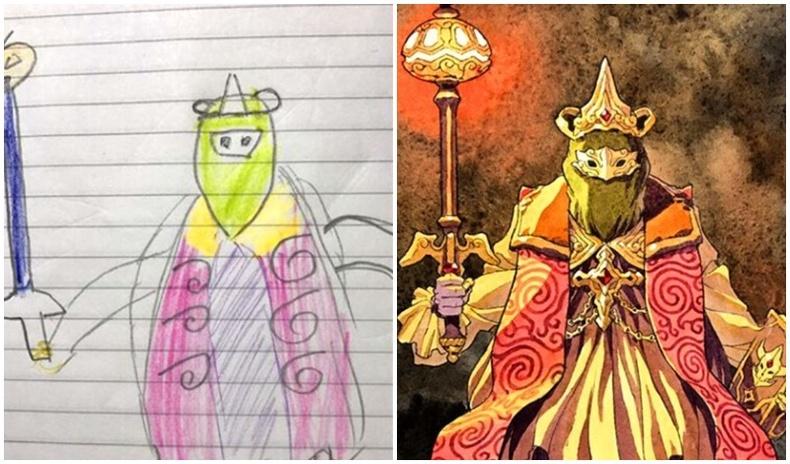 Хүүгийнхээ зурсан зургуудыг хүүхэлдэйн баатрын дүр болгодог аав
