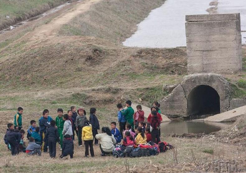 Тариалангийн газар ажиллахаар цуглаж буй хүүхдүүд , Пхеньян -2010 он.