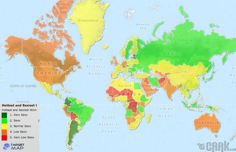 Хамгийн халуухан бүсгүйчүүдтэй улс (өнгөөр)