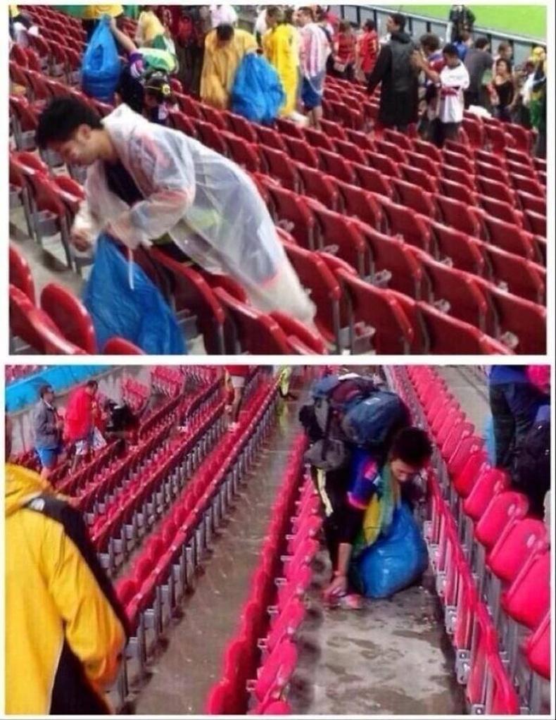 Японы хөлбөмбөгийн фанатууд ДАШТ-ий Япон-Кот д'Ивуарын тоглолтын дараа үлдээсэн хогоо цэвэрлэж байгаа нь.