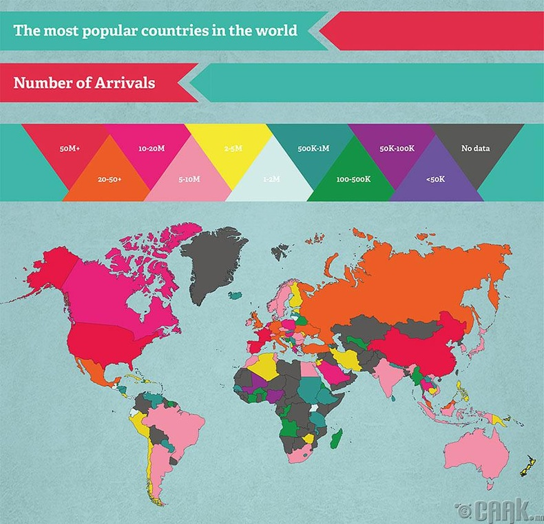 Хамгийн их жуулчид очдог улс орнууд