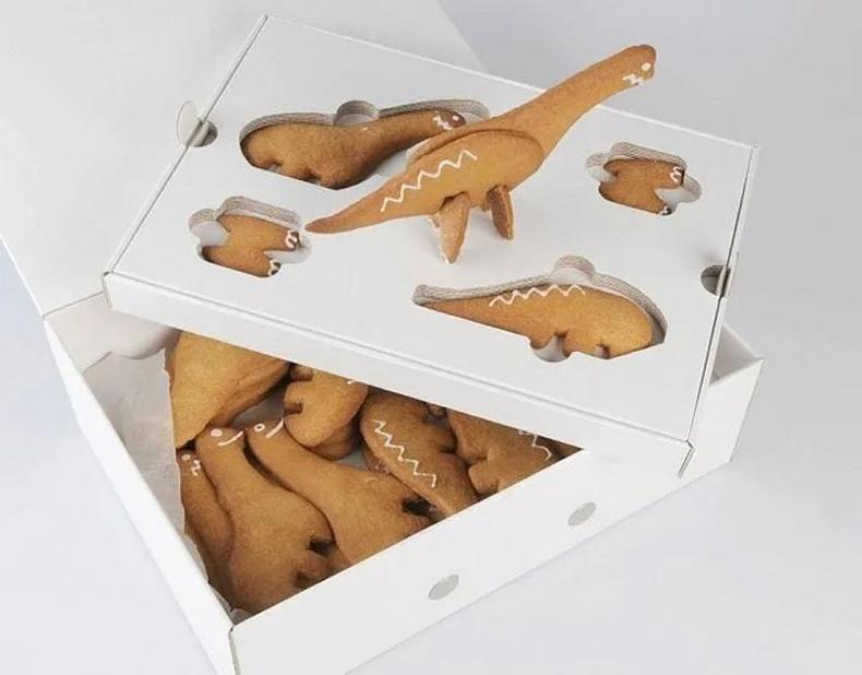 Динозавр хэлбэртэй эвлүүлдэг жигнэмэг. Шинэ Зеландын THINK Packaging компани.