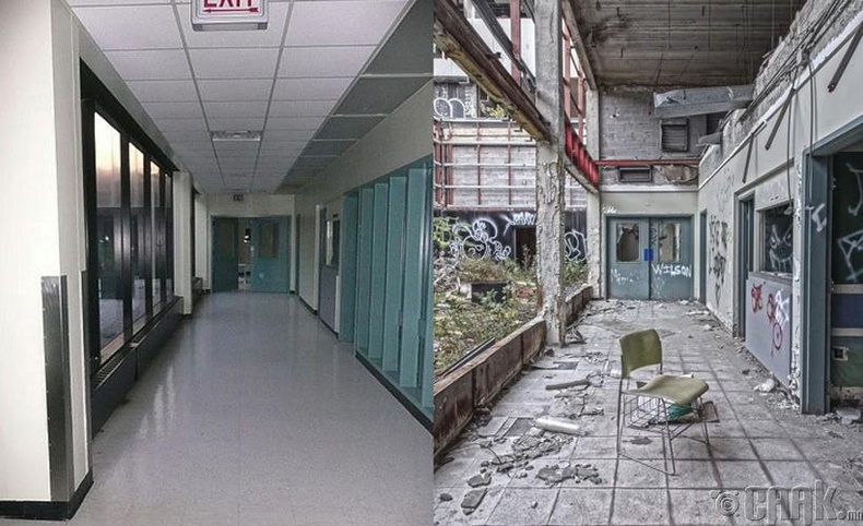 Детройтын нэгэн эмнэлэг хаягдахын өмнө ба дараа