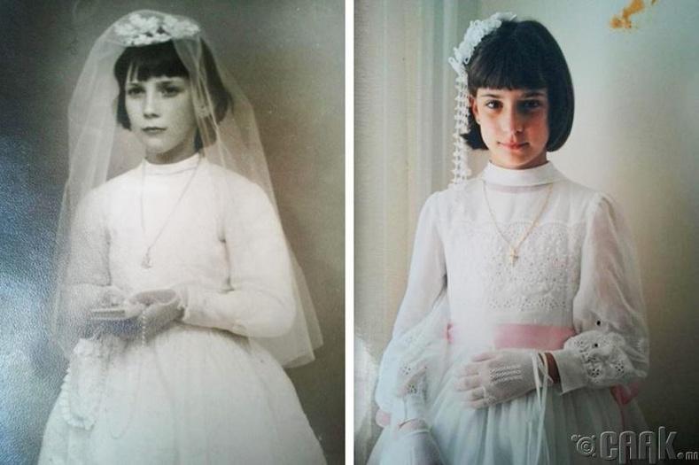 """""""Ээж минь 8 настайдаа энэ зургийг авахуулсан. Харин би ч бас 8-тайдаа ээжтэйгээ адил байдлаар зургаа авахуулсан юм"""""""