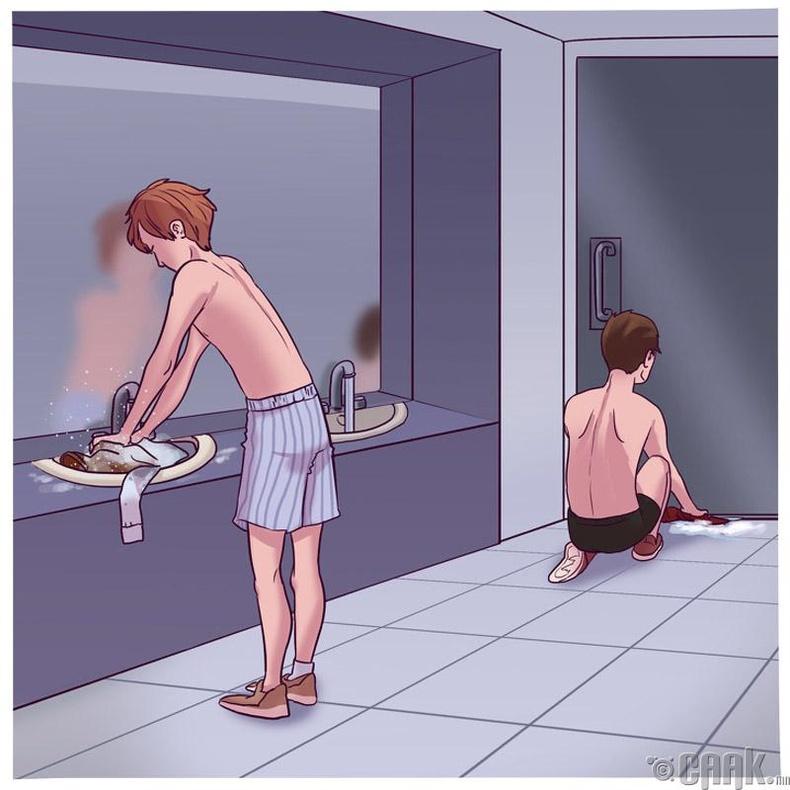 Гарах боломжгүй бол ариун цэврийн өрөөнд ор