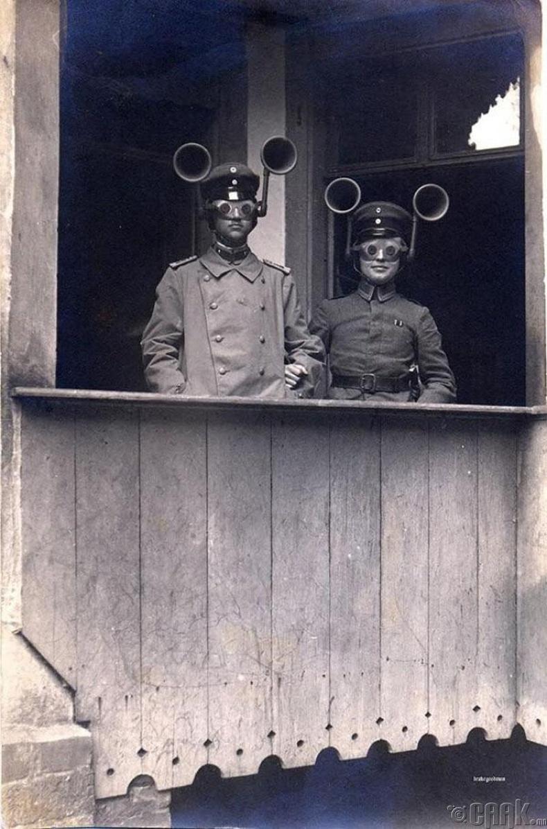 Онгоц илрүүлэх төхөөрөмж зүүсэн герман цэргүүд - 1914 он