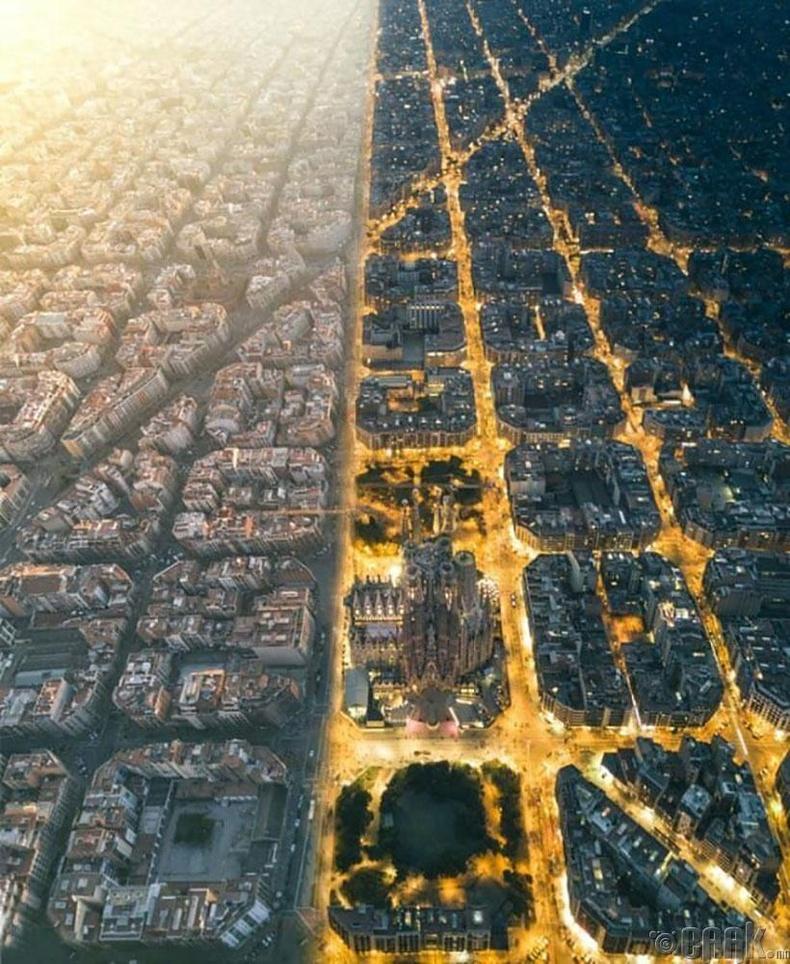 Барселон хотын өдрийн ба шөнийн төрх