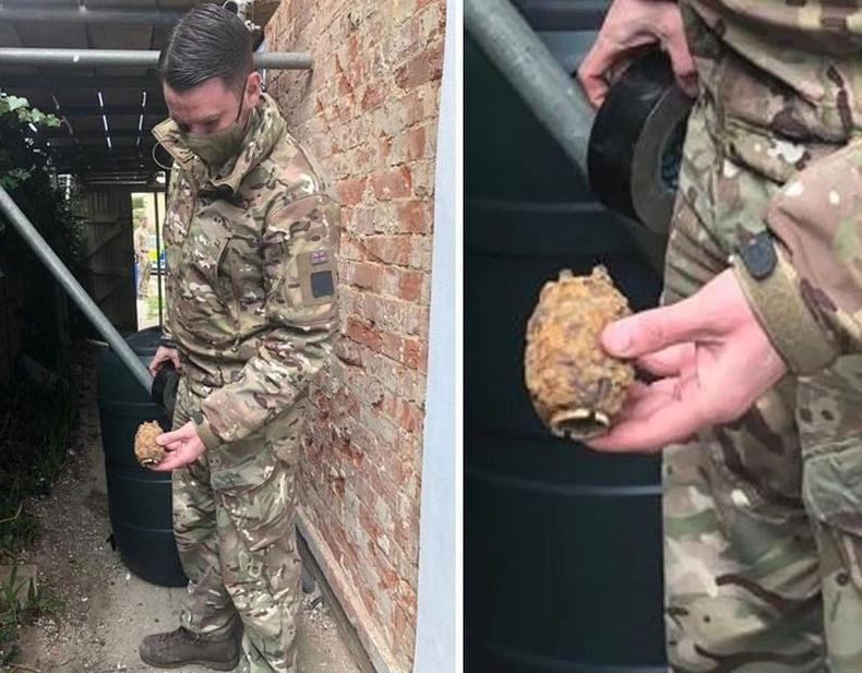 Гэрийнхээ хашаанаас хуучны гранат олсон нь