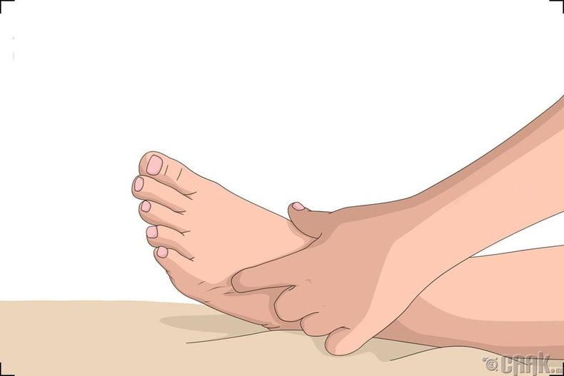 Хөлийн чигчий хурууны доор дарах