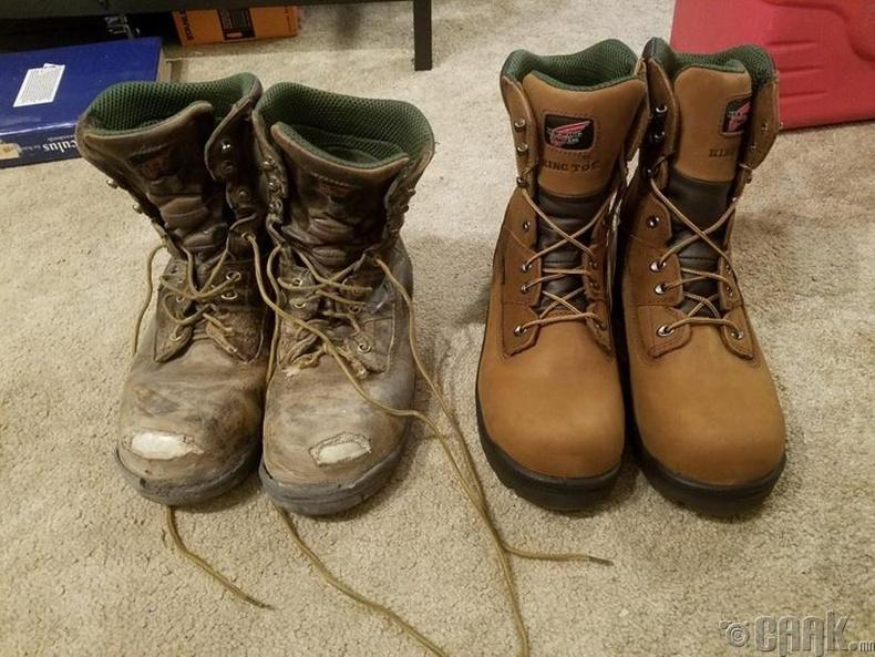 4 жил өмссөн ажлын гутлыг ижилхэн шинэ гуталтай харьцуулахад