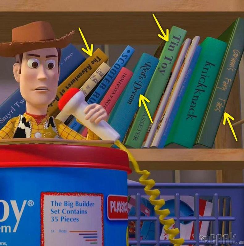 """""""Toy Story"""" кинон дээр Эндигийн ард гардаг номын тавиур дээр """"Pixar""""-ын өмнөх зохиолууд байсан"""