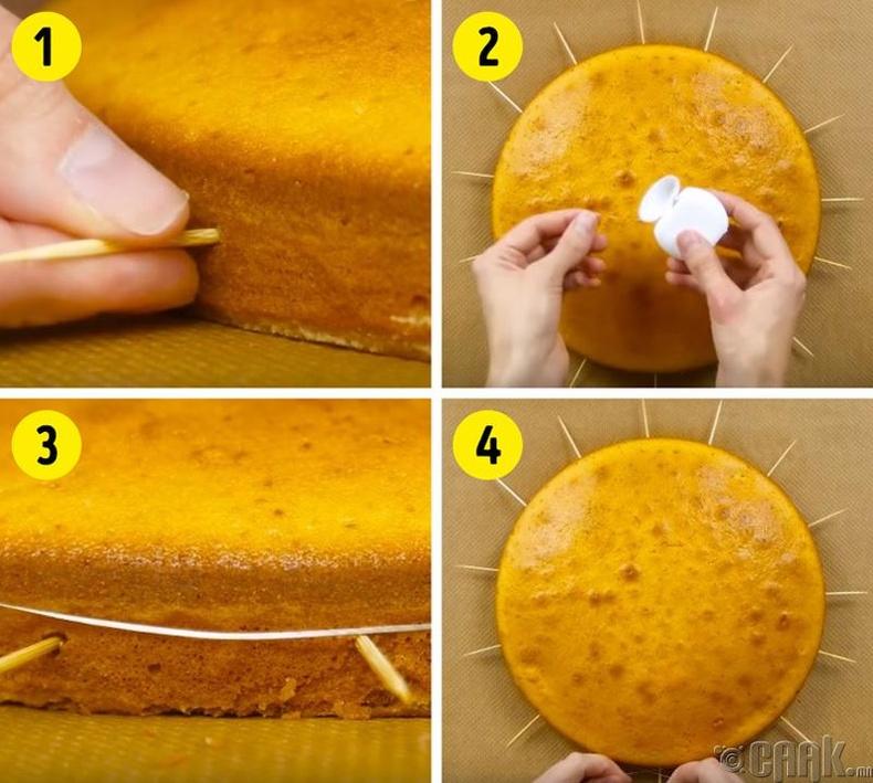 Шинэхэн бялуугаа хуваахыг хүсвэл шүдний чигчлүүрээр хэмжээ авч нарийн утас голоор нь гүйлгээрэй