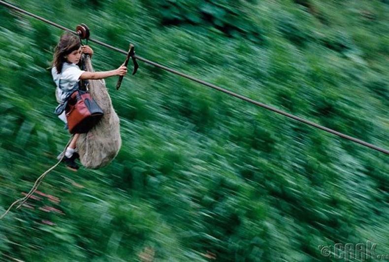 Колумбын Рио-Негро голын дээгүүр хүүхдүүд 800 метрийн урттай ган кабелын утсаар дамжин хичээлдээ явдаг