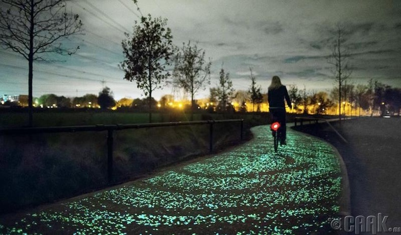 """Ван Гогийн """"Одтой шөнө"""" зургаас сэдэвлэж тавьсан дугуйн зам - Нидерланд"""