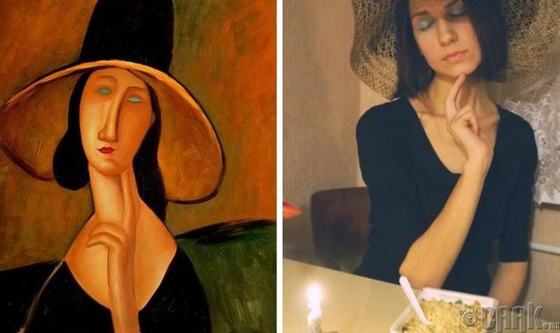 """Амедео Модильяни (Amedeo Modigliani) """"Том малгайтай бүсгүйн хөрөг"""""""