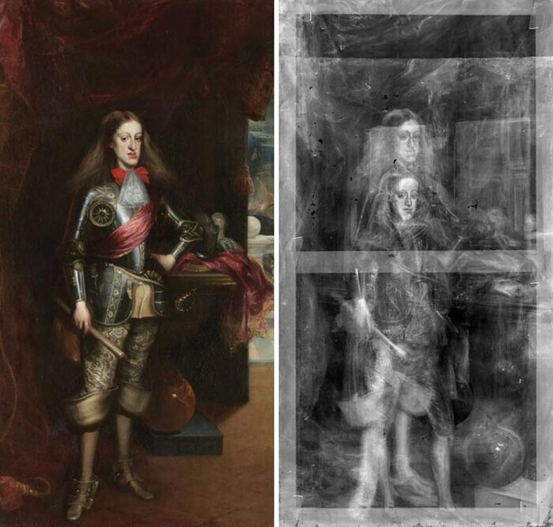 Испанийн II Чарльз хааны хөргийг рентген туяагаар хараад зураач хааныг хэдэн насаар залуу байхад бүтээсэн анхны хувилбар дээр нэмж зурсныг тогтоожээ