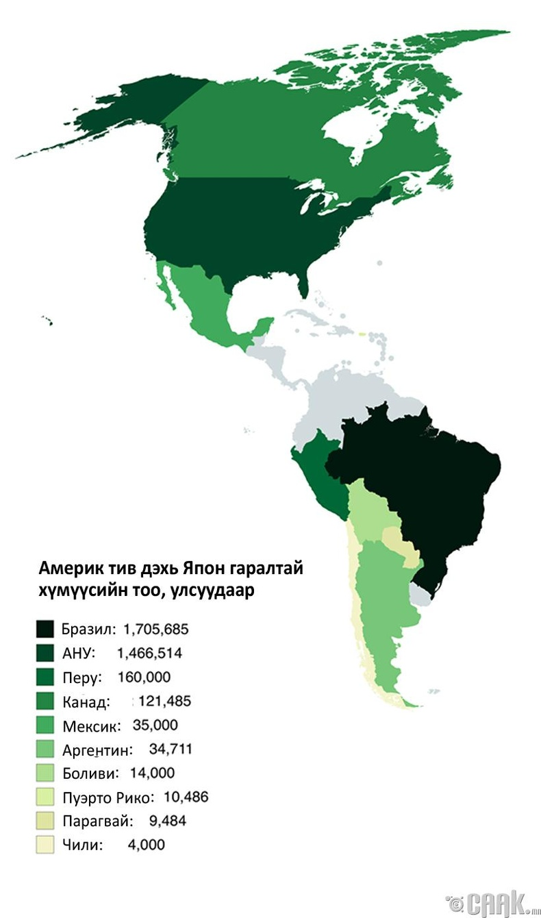 Америк тивийн улсууд дахь Япон гаралтай хүмүүсийн тоо