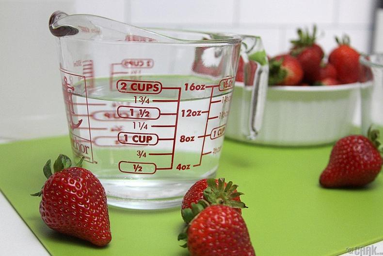 Жимсийг уксусын уусмалаар угаа