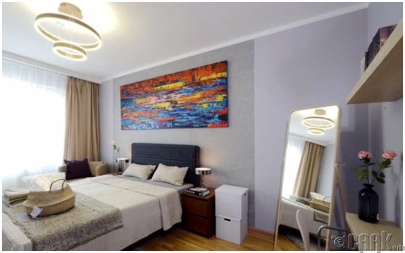 Стандарт 2 өрөө орон сууцны танилцуулга: 54мкв 2 өрөө орон сууцны унтлагын өрөө