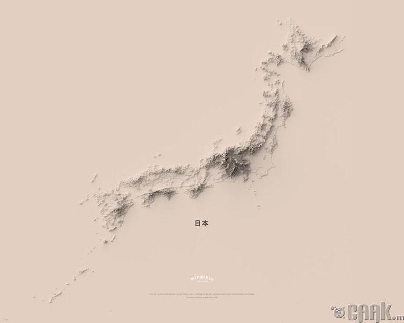 Японы топографийн минимал зураг