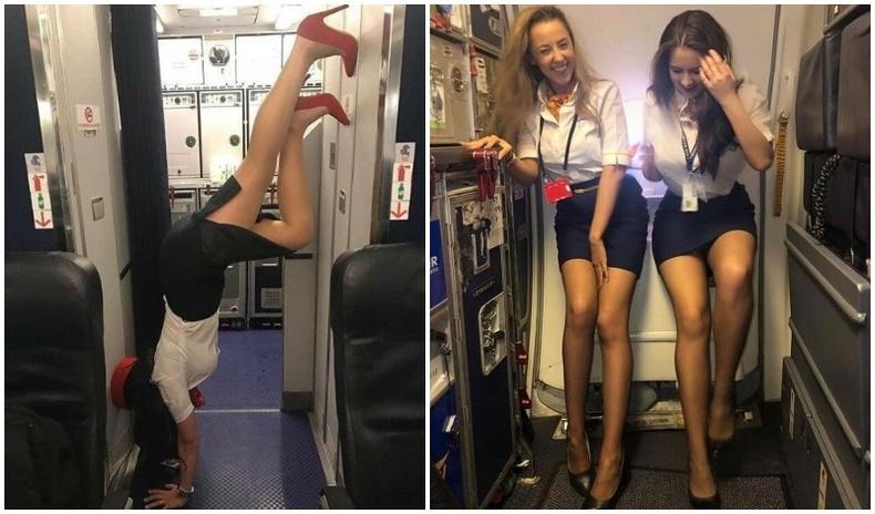 Дүрсгүй бөгөөд халуухан онгоцны үйлчлэгч бүсгүйчүүд