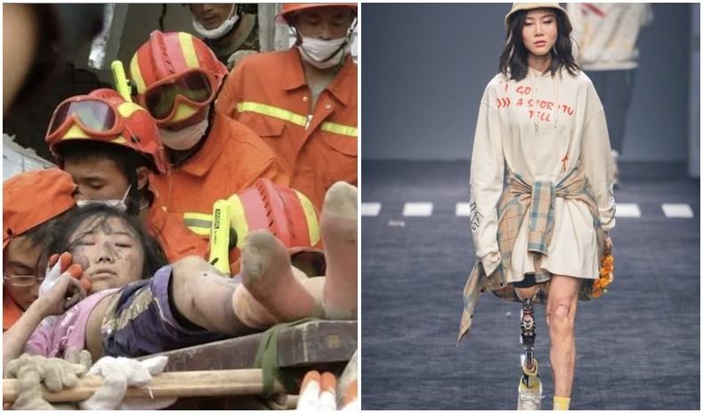 Аймшигт газар хөдлөлтөөс амьд үлдсэн Хятад бүсгүй анх удаа загварын тайзан дээр алхжээ