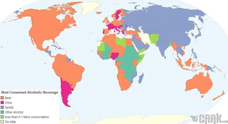 Улс орнууд ямар алкохол хэрэглэдэг вэ?