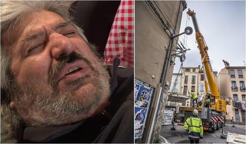 300 кг жинтэй өвчтөнг гэрээс нь кранаар өргөж гаргажээ