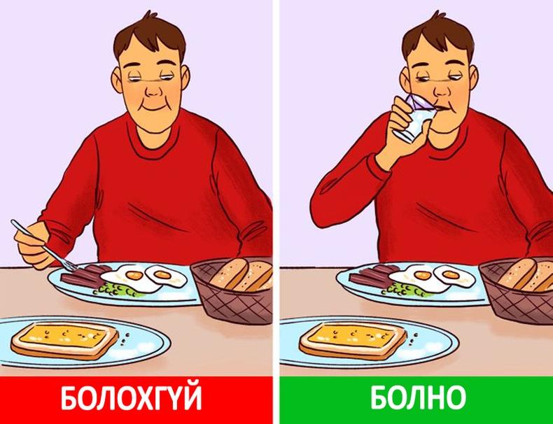 Хоол идэхийн өмнө ус уугаарай