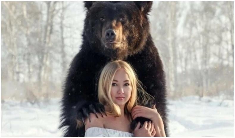 Аварга биет баавгайтай хамт амьдардаг Орос бүсгүй