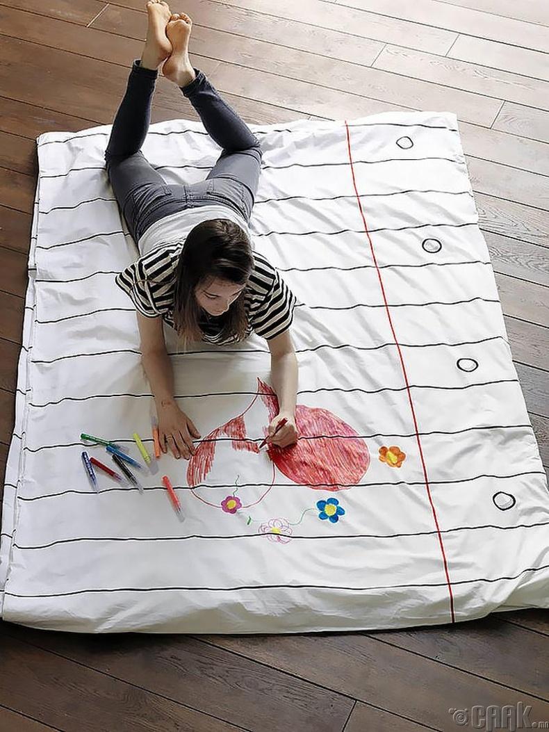 Дээр нь зурж болдог ор хөнжлийн даавуу