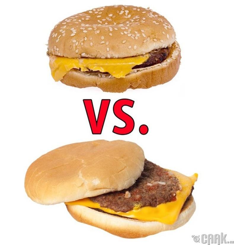 """""""Burger King""""-ийн бургер vs. """"McDonalds""""-ийн бургер"""