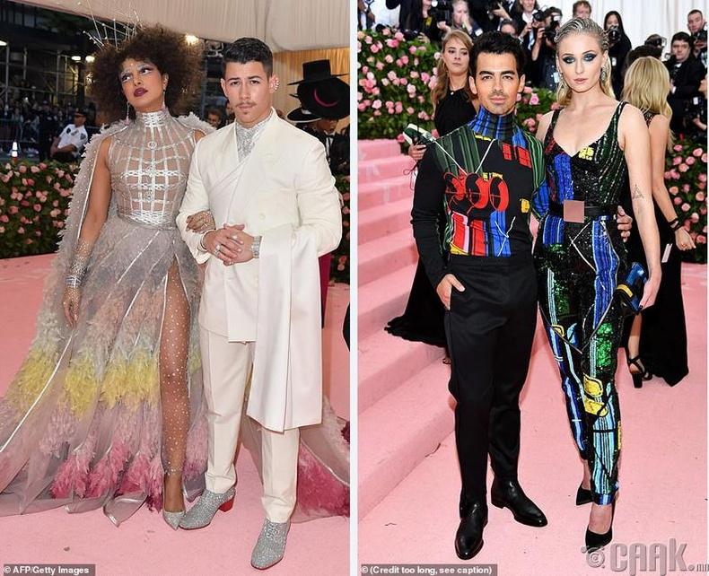 Жүжигчин Прианка Чопра (Priyanka Chopra) болон түүний нөхөр Ник Жонас (Nick Jonas). Жүжигчин Софи Турнер (Sophie Turner) болон дуучин Жо Жонас (Joe Jonas)