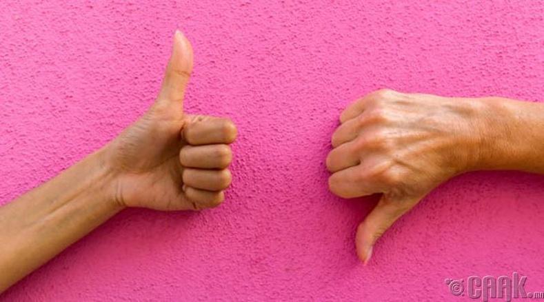 Эрхий хуруугаа дээш болон доош харуулах