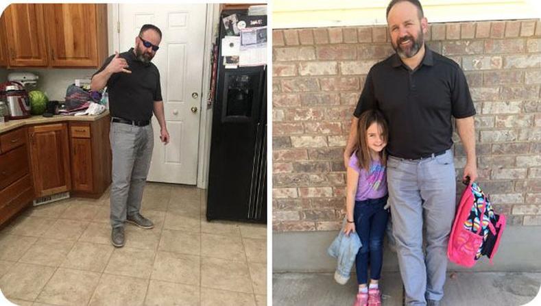 Цэцэрлэгийн анхны өдрөө өнгөрүүлсэн охиныг аав нь сүрдэм бие хамгаалагчийн дүрээр очиж авсан нь