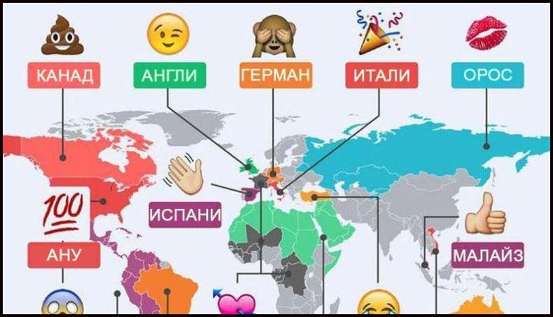 """Улс орнууд ямар """"Emoji""""-г түлхүү хэрэглэдэг вэ?"""
