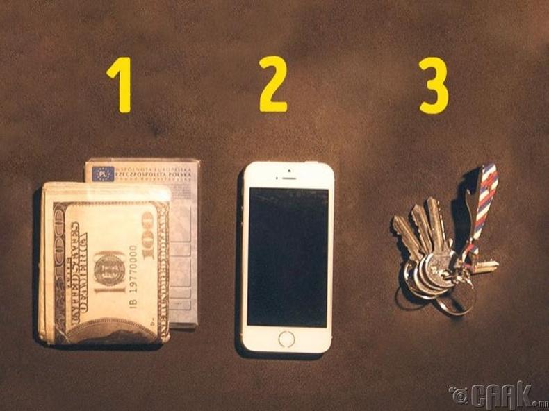 Мөнгө, түлхүүр, цэнэгтэй утас